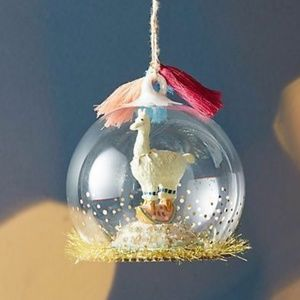 Anthropologie Snowglobe Habitat Llama Ornament